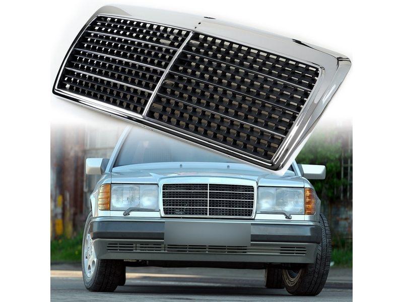 メルセデスベンツ W124 Eクラス 300e 260e 400e 500E前期 フロント グリル/クロームフレーム+ブラックメッシュ 送料無料【___OCS】