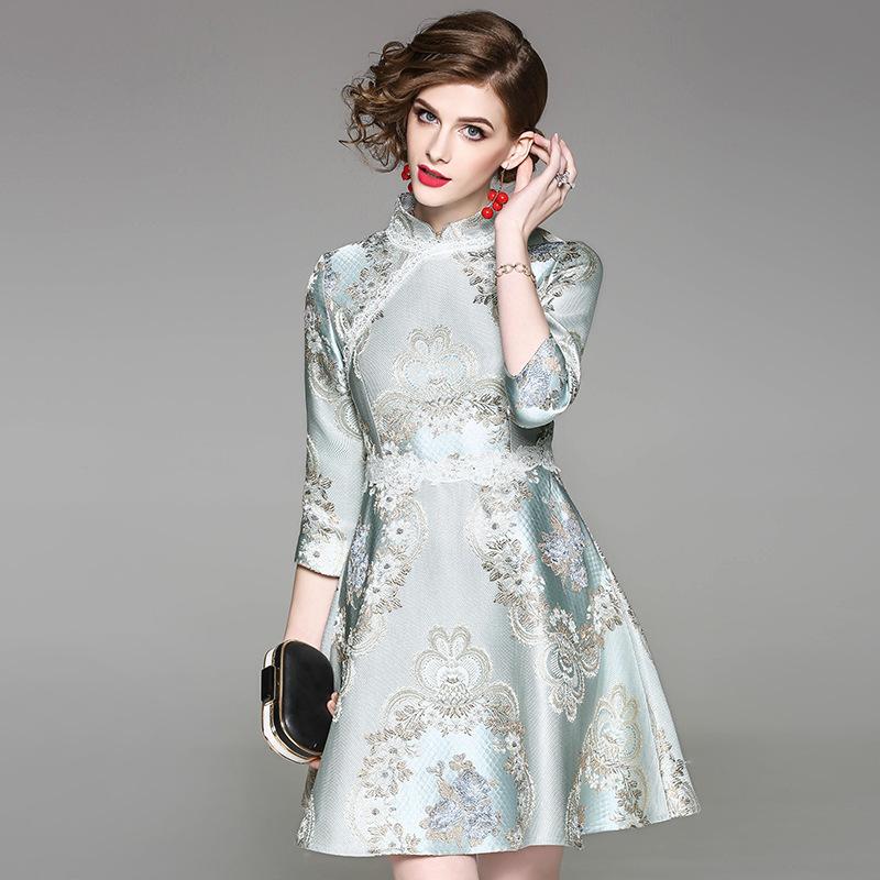 【最新作】ファッション 刺繍柄ドレス フレアスカートジャカード生地 上品なチャイナドレス風 パーティードレス♪結婚式ドレス パーティードレス 長袖 結婚式 ミディアム 高級ワンピース ドレス 大人ドレス 二次会 ドレス