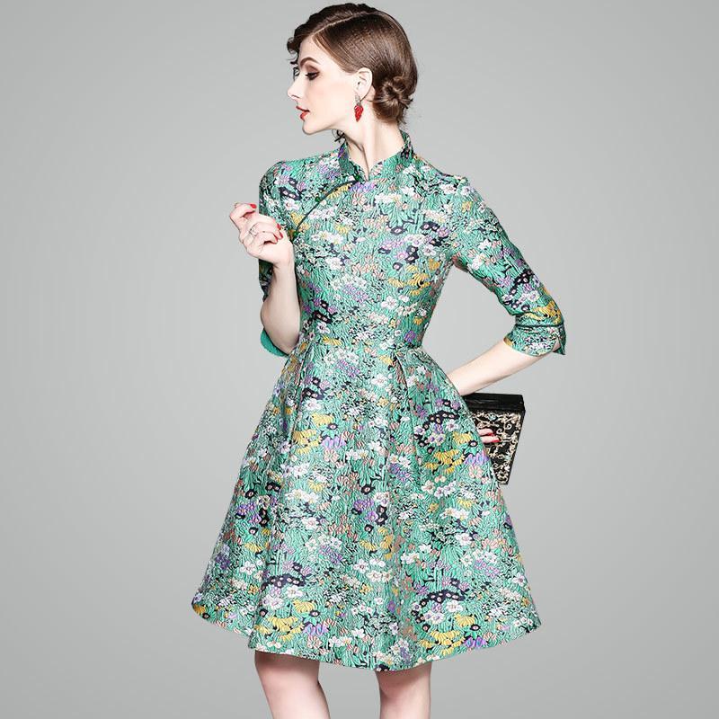 70b58d329c812 最新作 レディースファッション 刺繍柄ドレス フレアスカートジャカード ...