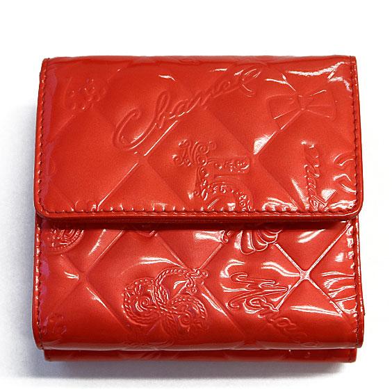 【送料無料】【中古】CHANEL アイコン 二つ折り財布 オレンジ Wホック エナメルおしゃれ レディース 女性 specialprice2505