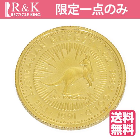 【送料無料】【中古】K24 カンガルー コイン 1/10オンス ナゲット オーストラリア 1991年 純金 24金 金貨