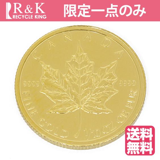 【送料無料】【中古】K24 メイプルリーフ コイン 1/10オンス カナダ 2004年 純金 24金 金貨