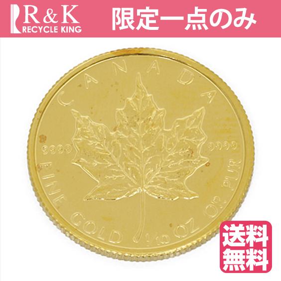 【送料無料】【中古】K24 メイプルリーフ コイン 1/10オンス カナダ 1988年 純金 24金 金貨