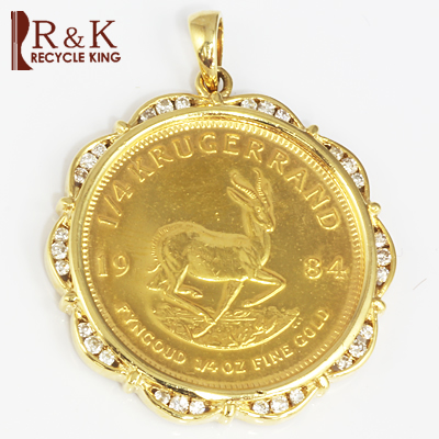 【送料無料】【中古】K18枠 ダイヤ コインペンダント 南アフリカ クルーガーランド(22金) 1/4オンス ペンダントトップ(トップのみの販売です。チェーンは非付属) 18金メンズ おしゃれ レディース 男性 かっこいい 女性 価格見直し0711