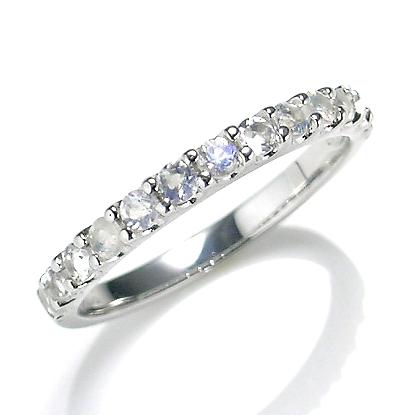 【送料無料】【新品】K10WG ブルームーンストーンエタニティリング 指輪 10金 おしゃれ レディース 女性 かわいい 可愛い オシャレ