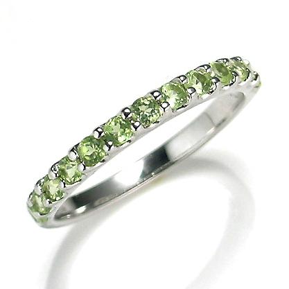 【送料無料】【新品】K10WG ペリドットエタニティリング 指輪 10金 おしゃれ レディース 女性 かわいい 可愛い オシャレ