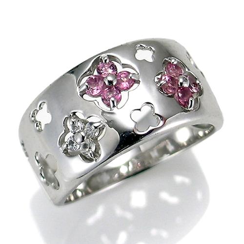 【送料無料】【新品】K10WG ピンクトルマリンフラワーボリュームリング 指輪 10金 おしゃれ レディース 女性 かわいい 可愛い オシャレ