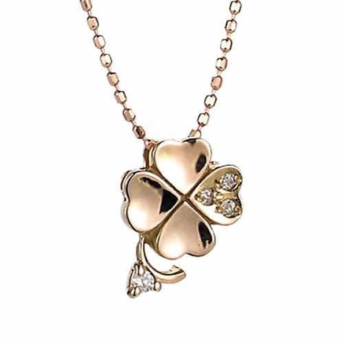 【送料無料】【新品】K10PG ダイヤモンド クローバー ペンダント ネックレス 10金 ピンクゴールド おしゃれ レディース 女性 かわいい アクセサリー ギフト プレゼント 誕生日 バースデー