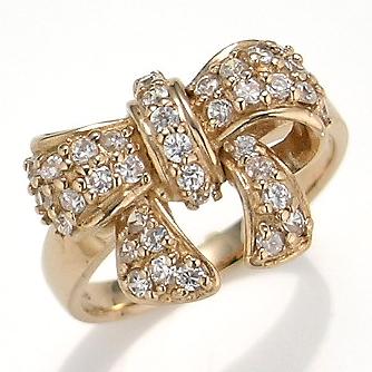 【送料無料】【新品】K18PG ダイヤリボンパヴェリング 指輪 18金 おしゃれ レディース 女性 かわいい 可愛い オシャレ