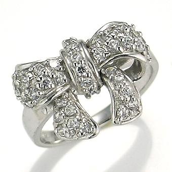 【送料無料】【新品】K18WG ダイヤモンド リボン パヴェ リング 指輪 18金 おしゃれ レディース 大人 女性 かわいい 可愛い オシャレ アクセサリー アクセ ボリューム ゴージャス 大きいサイズ プレゼント ダイヤリング