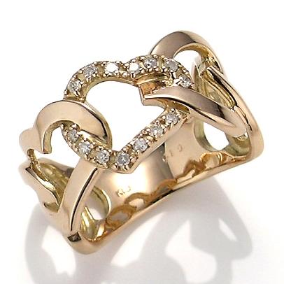 【送料無料】【新品】K18PG ダイヤモンド ハート リング 指輪 18金 おしゃれ レディース かわいい アクセサリー 透かし 幅広 ボリューム 大胆 ギフト プレゼント ダイヤ 18k k18リング ジュエリー ダイヤモンドリング ダイヤハートリング ダイヤリング ハートモチーフ 彼女