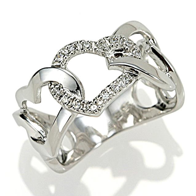 【送料無料】【新品】K18WG ダイヤモンド ハート リング 指輪 18金おしゃれ レディース 女性 かわいい 可愛い オシャレ アクセサリー アクセ 透かし 幅広 ボリューム 大胆 大きなサイズ ホワイトゴールド ギフト プレゼント