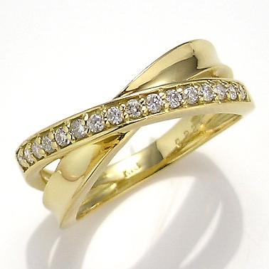 【送料無料】【新品】K18 ダイヤエックスリング 指輪 18金 おしゃれ レディース 女性 かわいい 可愛い オシャレ