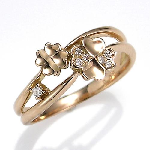 【送料無料】【新品】K10PG K10WG ダイヤモンド クローバー リング 指輪 10金 10K おしゃれ レディース 女性 かわいい 可愛い オシャレ 四つ葉 アクセ アクセサリー ピンクゴールド ギフト プレゼント