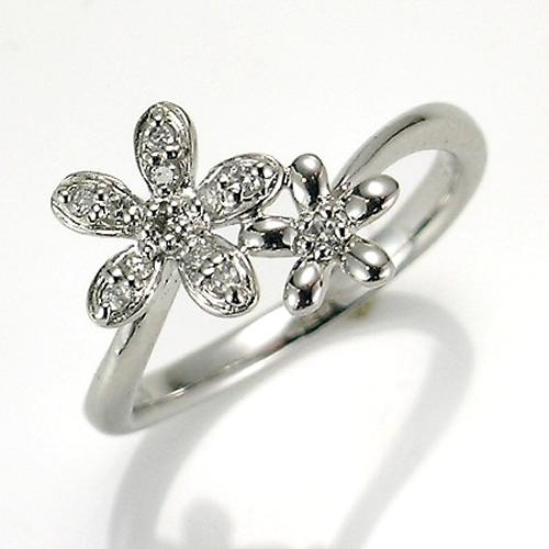 【送料無料】【新品】K10WG ツインダイヤフラワーリング 指輪 10金 おしゃれ レディース 女性 かわいい 可愛い オシャレ