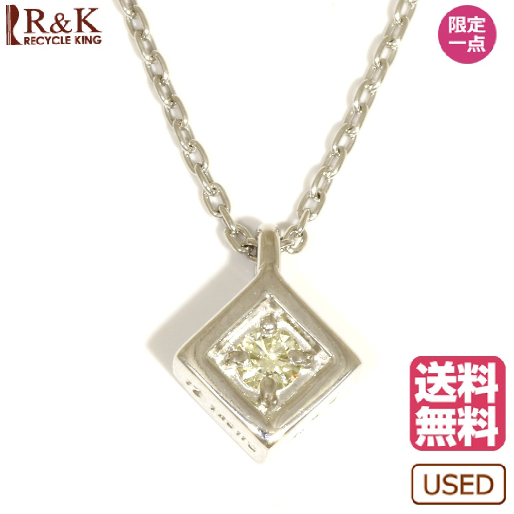 【送料無料】【中古】 TASAKI タサキ K18WG ネックレス ダイヤモンド:1石 シンプル 一粒 シルバー レディース おしゃれ かわいい おすすめ ギフト プレゼント 18金 K18ホワイトゴールド【BJ】