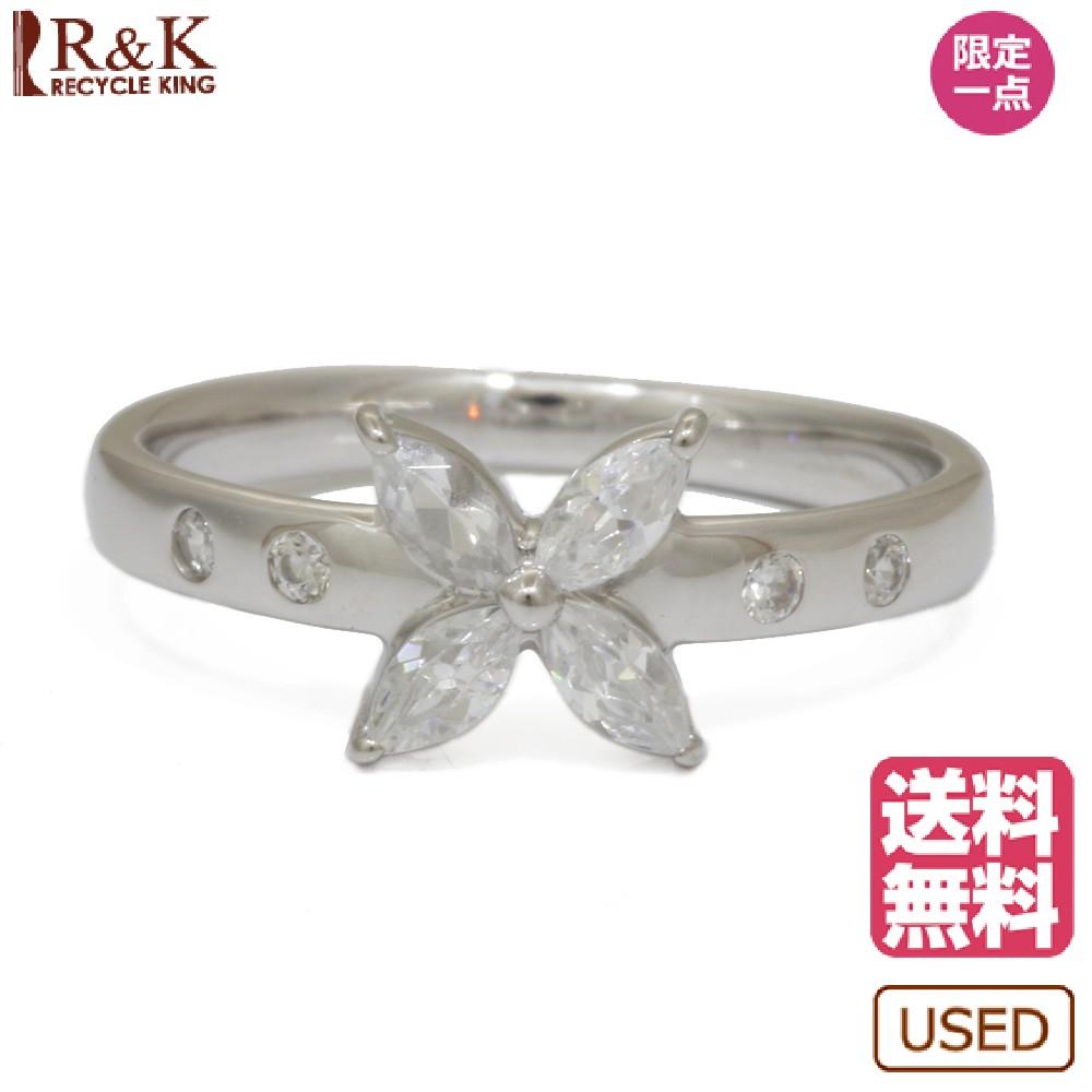 【送料無料】【中古】 K18WG リング 指輪 キュービック 花 フラワー 結晶 9号 18金 K18ホワイトゴールド レディース メンズ おしゃれ かわいい ギフト プレゼント【SH】