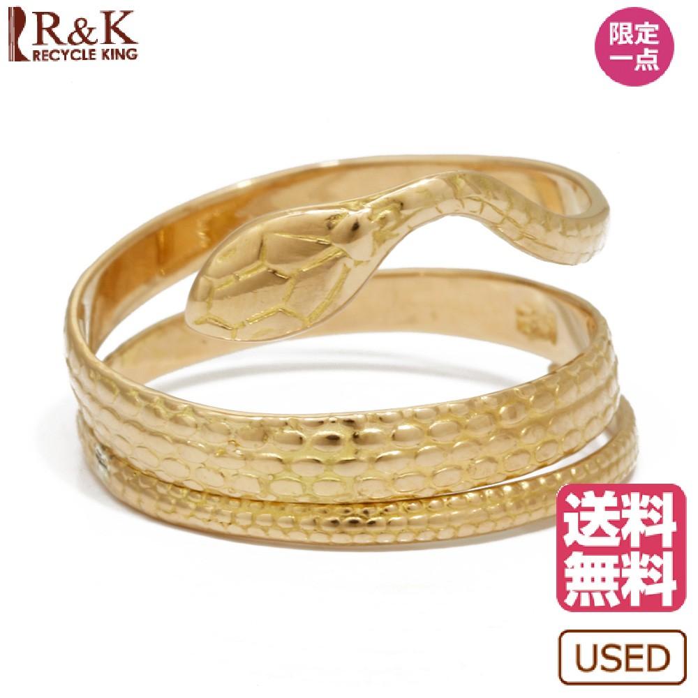 【送料無料】【中古】 K18 リング 指輪 蛇 へび ヘビ 13.5号 18金 K18ゴールド レディース メンズ おしゃれ かわいい ギフト プレゼント【SH】