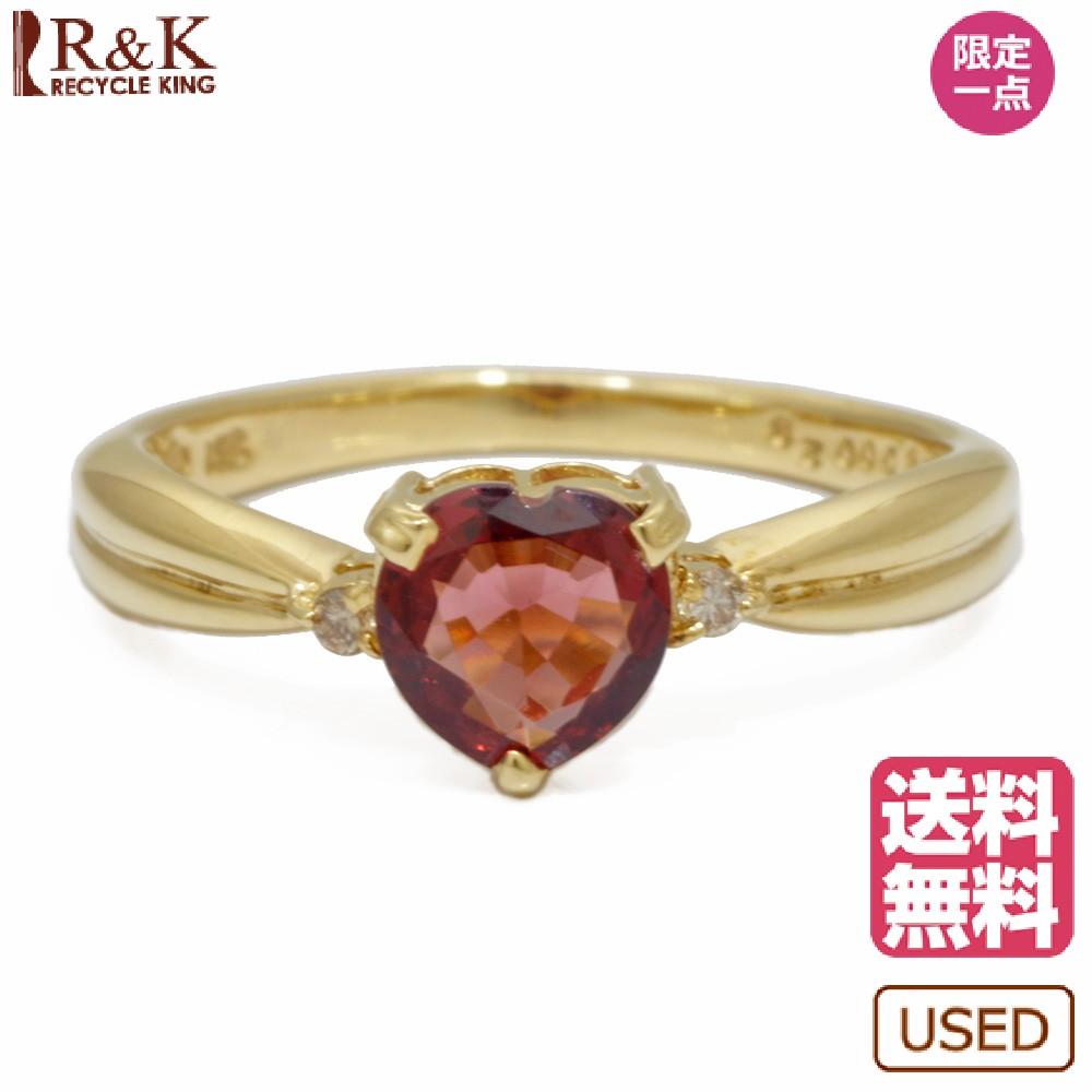 【送料無料】【中古】 K18 リング 指輪 ガーネット ダイヤモンド D0.028 ハート 11.5号 18金 K18ゴールド レディース メンズ おしゃれ かわいい ギフト プレゼント【SH】