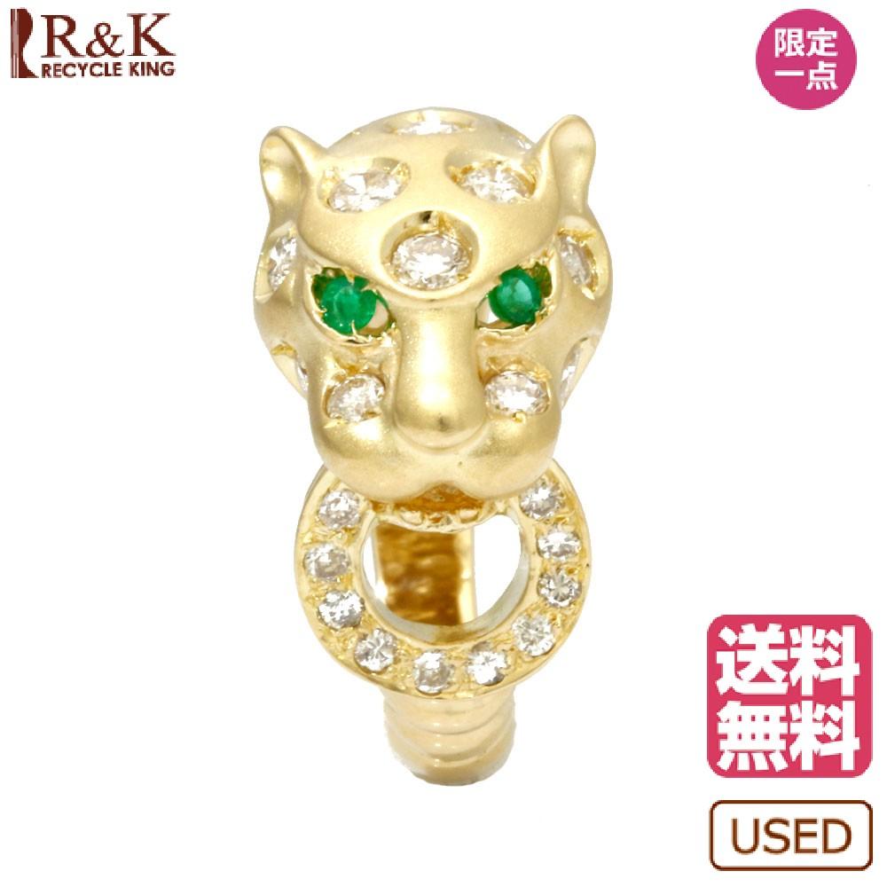 【送料無料】【中古】 K18 リング 指輪 12.5号 ダイヤモンド 0.83ct エメラルド 豹 ひょう ヒョウ レオパード 18金 K18ゴールド ゴールド レディース メンズ おしゃれ かわいい ギフト プレゼント【SH】