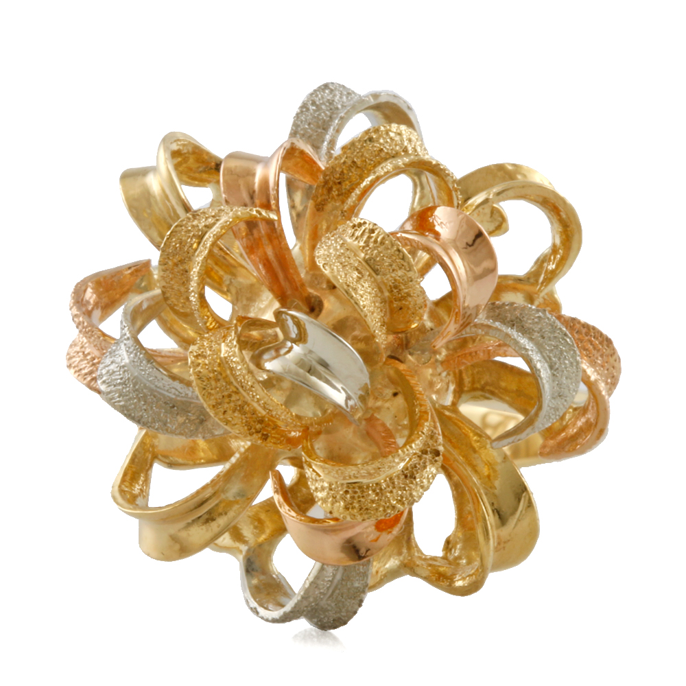 【送料無料】【中古】 K18 リング 指輪 3カラー フラワーリボン りぼん 11号 18金 K18ゴールド レディース メンズ おしゃれ かわいい ギフト プレゼント