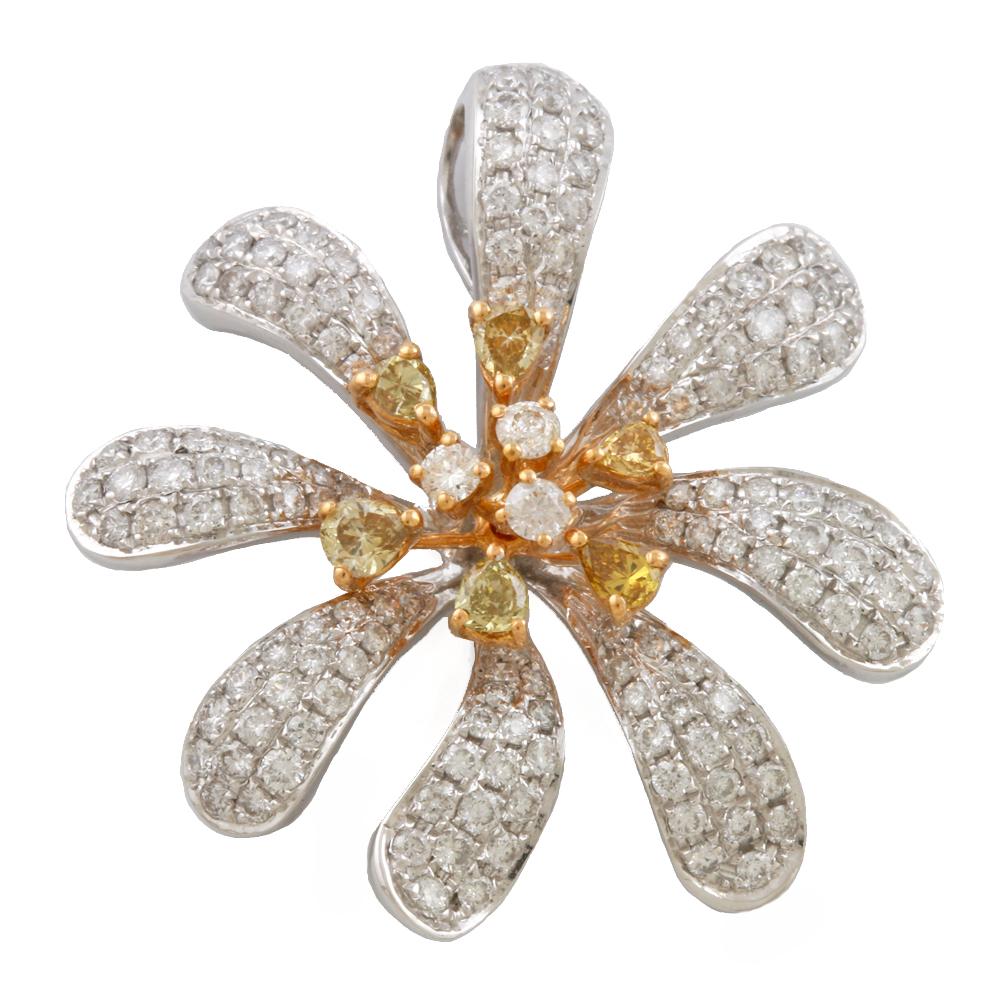 【送料無料】【中古】 K18PG K18WG ペンダントトップ ダイヤモンド 花 フラワー 2カラー 18金 K18ピンクゴールド ホワイトゴールド レディース メンズ おしゃれ かわいい ギフト プレゼント