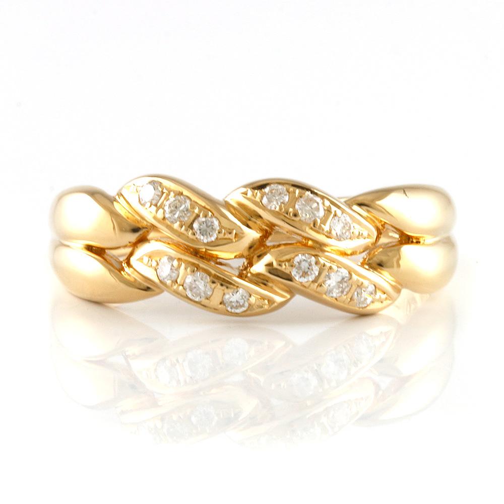 【送料無料】【中古】 CELINE セリーヌ K18 リング 指輪 20号 ダイヤモンド0.22CT 18金 K18ゴールド レディース メンズ おしゃれ かわいい ギフト プレゼント