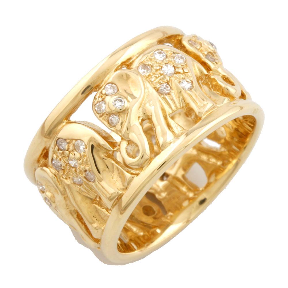 【送料無料】【中古】 K18 リング 指輪 ダイヤモンド 0.46ct ぞう ゾウ 象 エレファント 18金 K18ゴールド レディース メンズ おしゃれ かわいい ギフト プレゼント