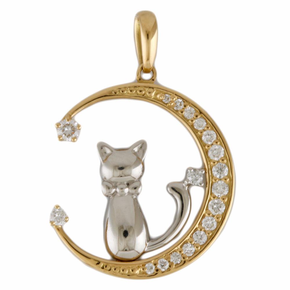 【送料無料】【中古】 K18 ペンダントトップ ダイヤモンド 0.24ct ねこ 月と星と猫 18金 K18ゴールド レディース おしゃれ かわいい ギフト プレゼント