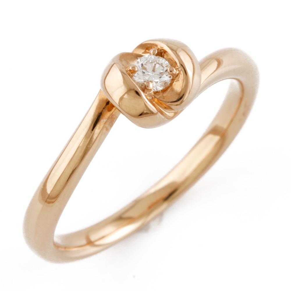 【送料無料】【中古】 4℃ ヨンドシー K18PG リング 指輪 ダイヤモンド 10号 一粒 18金 K18ピンクゴールド レディース メンズ おしゃれ かわいい ギフト プレゼント