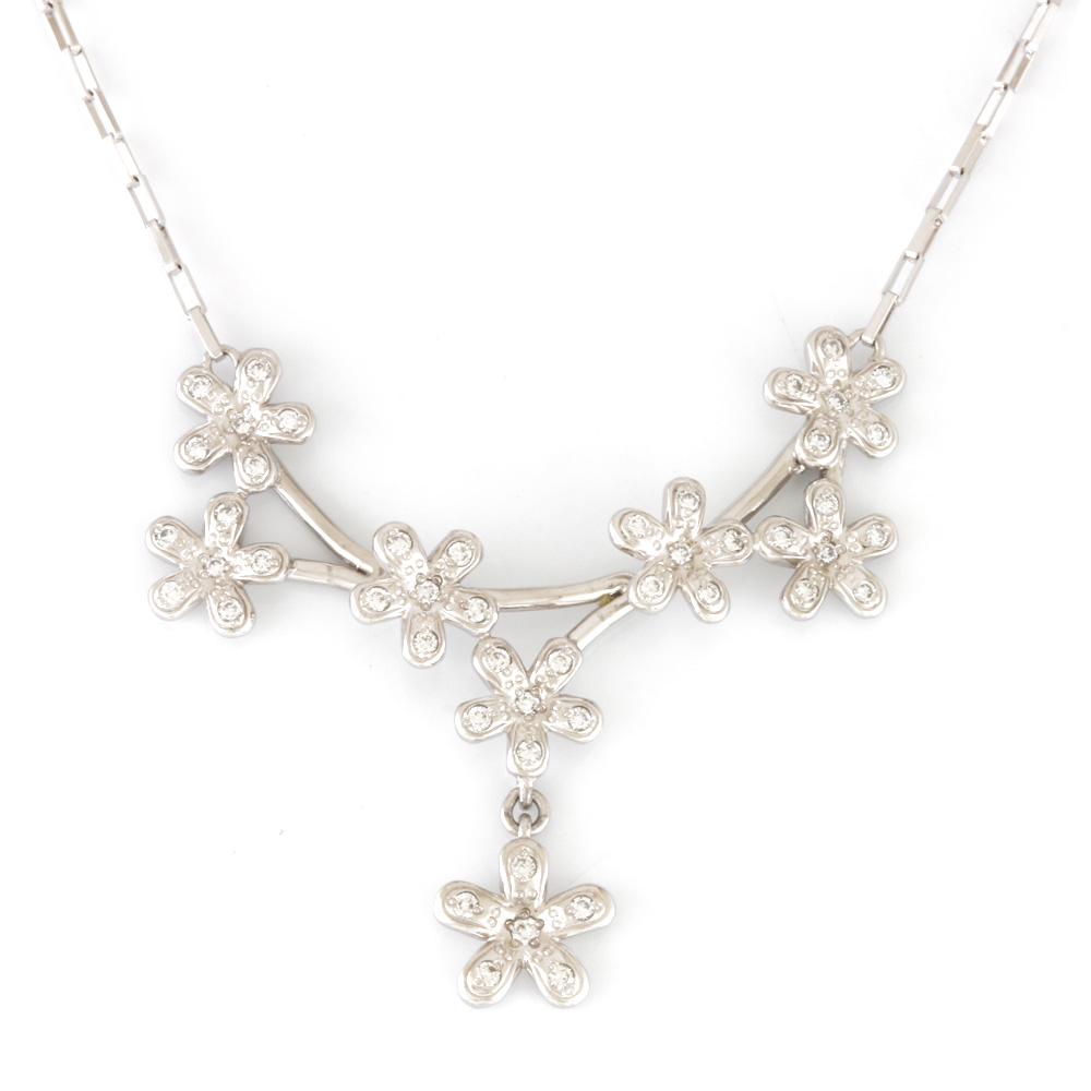 【送料無料】【中古】 VENDOME ヴァンドーム Pt850 Pt950 ネックレス ダイヤモンド D0.25 花 フワラー プラチナ レディース メンズ おしゃれ かわいい ギフト プレゼント