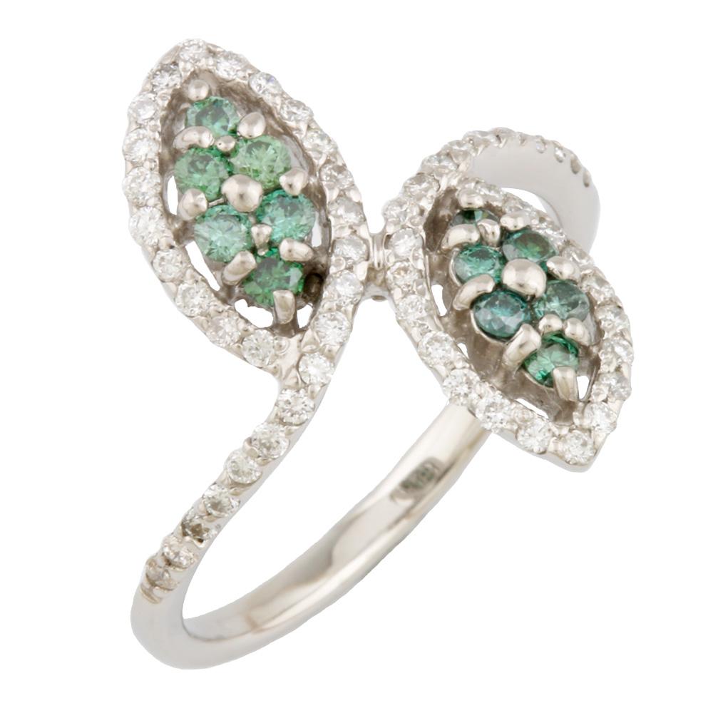【送料無料】【中古】 Pt900 リング 指輪 葉 リーフ 植物 グリーンダイヤモンド ダイヤモンド 10号 プラチナ レディース おしゃれ かわいい ギフト プレゼント