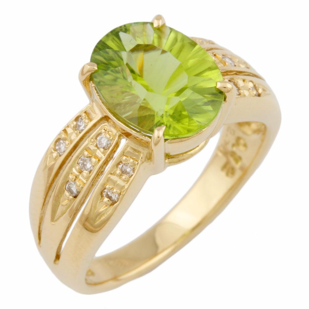 【送料無料】【中古】 K18 リング 指輪 11号 ペリドット 2.70ct ダイヤモンド 0.12ct 18金 K18ゴールド レディース おしゃれ かわいい ギフト プレゼント