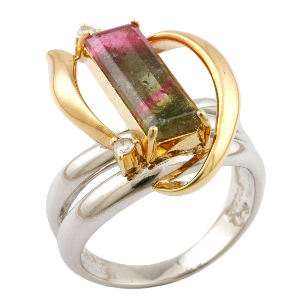 【送料無料】【中古】 Pt900 リング 指輪 11.5号 トルマリン 2.15ct ダイヤモンド 0.05ct Pt900プラチナ レディース メンズ おしゃれ かわいい ギフト プレゼント
