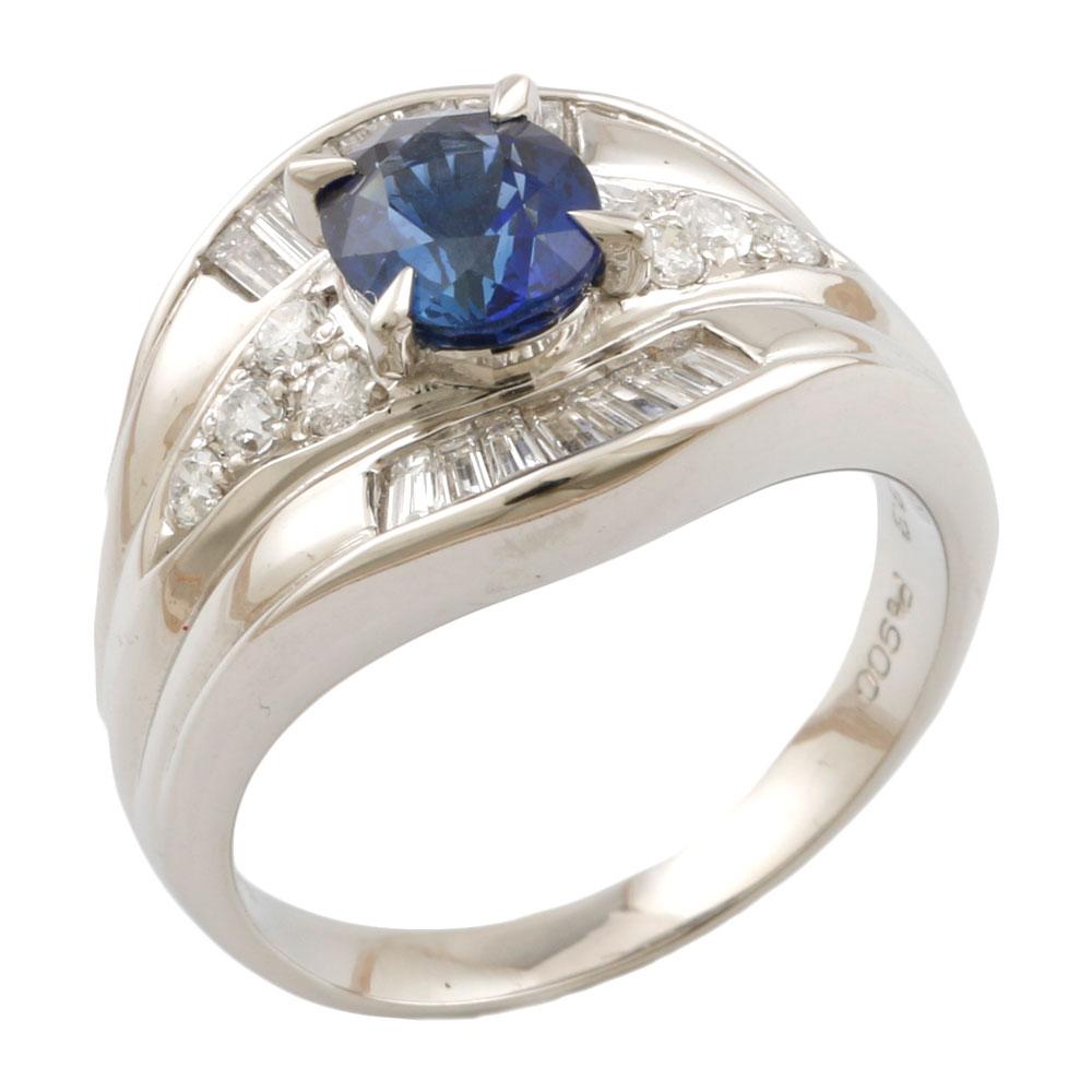 【送料無料】【中古】 Pt900 リング 指輪 12.5号 サファイア 1.33ct ダイヤモンド 0.56ct Pt900プラチナ レディース メンズ おしゃれ かわいい ギフト プレゼント