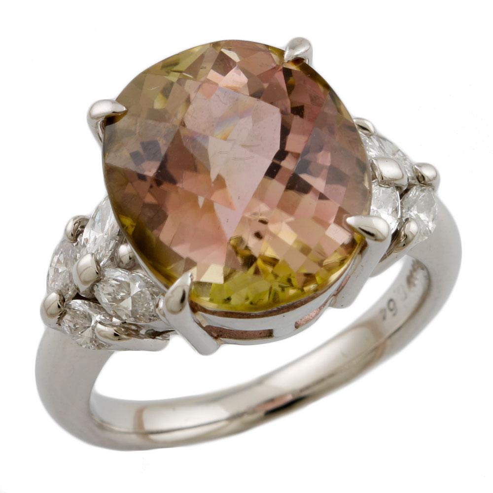 【送料無料】【中古】 Pt900 リング 指輪 14号 トルマリン 8.64ct ダイヤモンド 0.59ct Pt900プラチナ レディース メンズ おしゃれ かわいい ギフト プレゼント