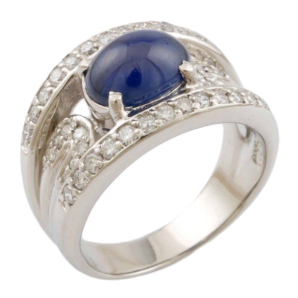 【送料無料】【中古】 Pt900 リング 指輪 7.5号 サファイア 1.80ct ダイヤモンド 0.45ct Pt900プラチナ レディース メンズ おしゃれ かわいい ギフト プレゼント