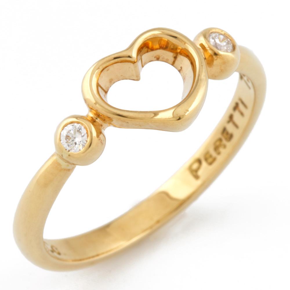 【送料無料】【中古】 TIFFANY&Co. ティファニー K18 リング 指輪 ダイヤモンド ハート オープンハート 12号 18金 K18ゴールド レディース メンズ おしゃれ かわいい ギフト プレゼント