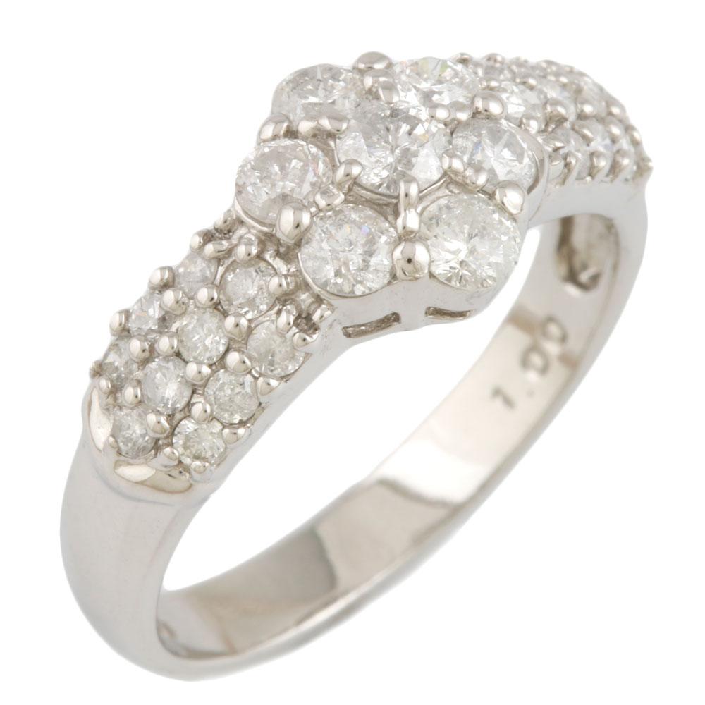 【送料無料】【中古】 Pt900 リング 指輪 12号 ダイヤモンド 1.00ct フラワー 花 パヴェ Pt900プラチナ レディース メンズ おしゃれ かわいい ギフト プレゼント