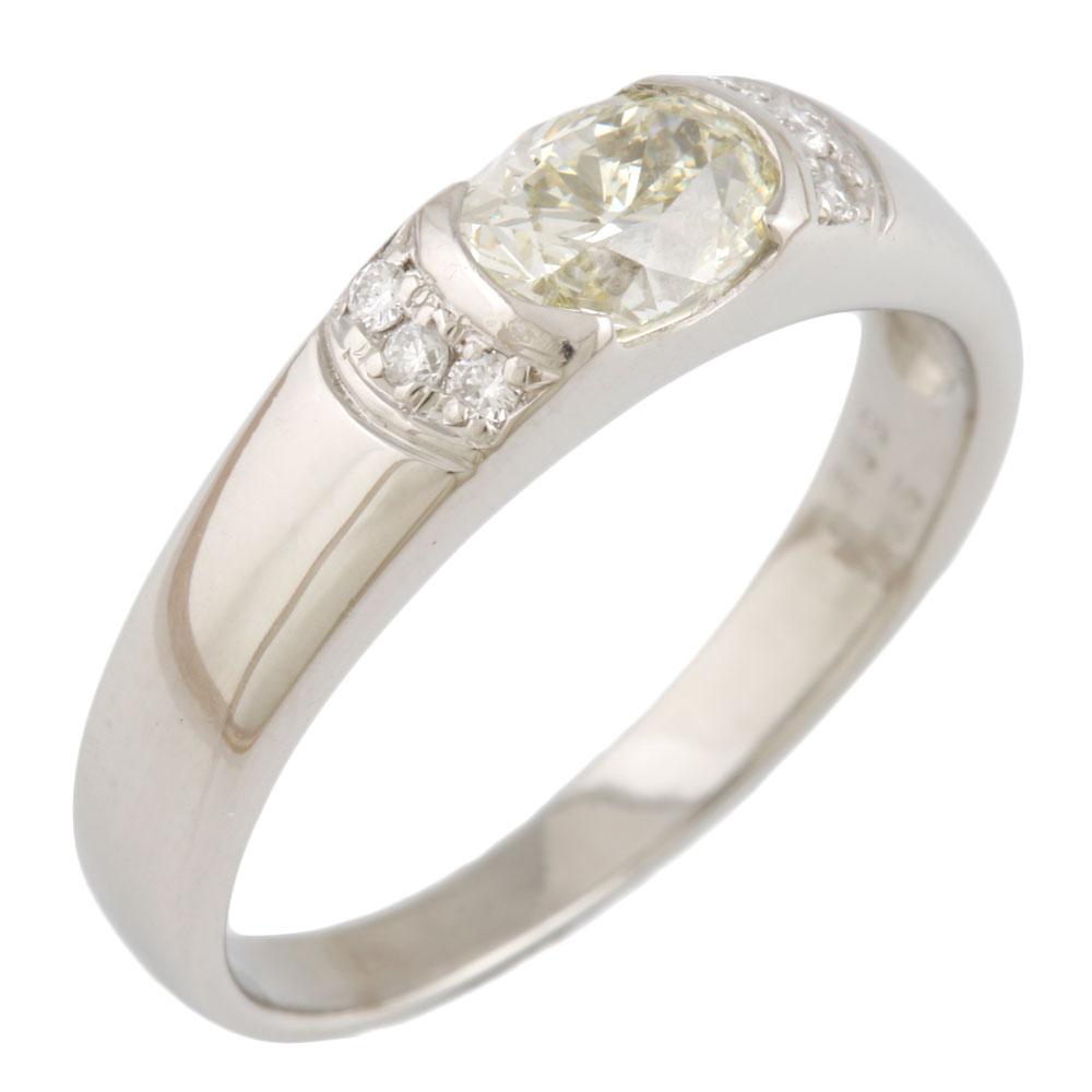 【送料無料】【中古】 Pt900 リング 指輪 11号 イエローダイヤモンド 0.753ct ダイヤモンド 0.05ct Pt900プラチナ レディース メンズ おしゃれ かわいい ギフト プレゼント