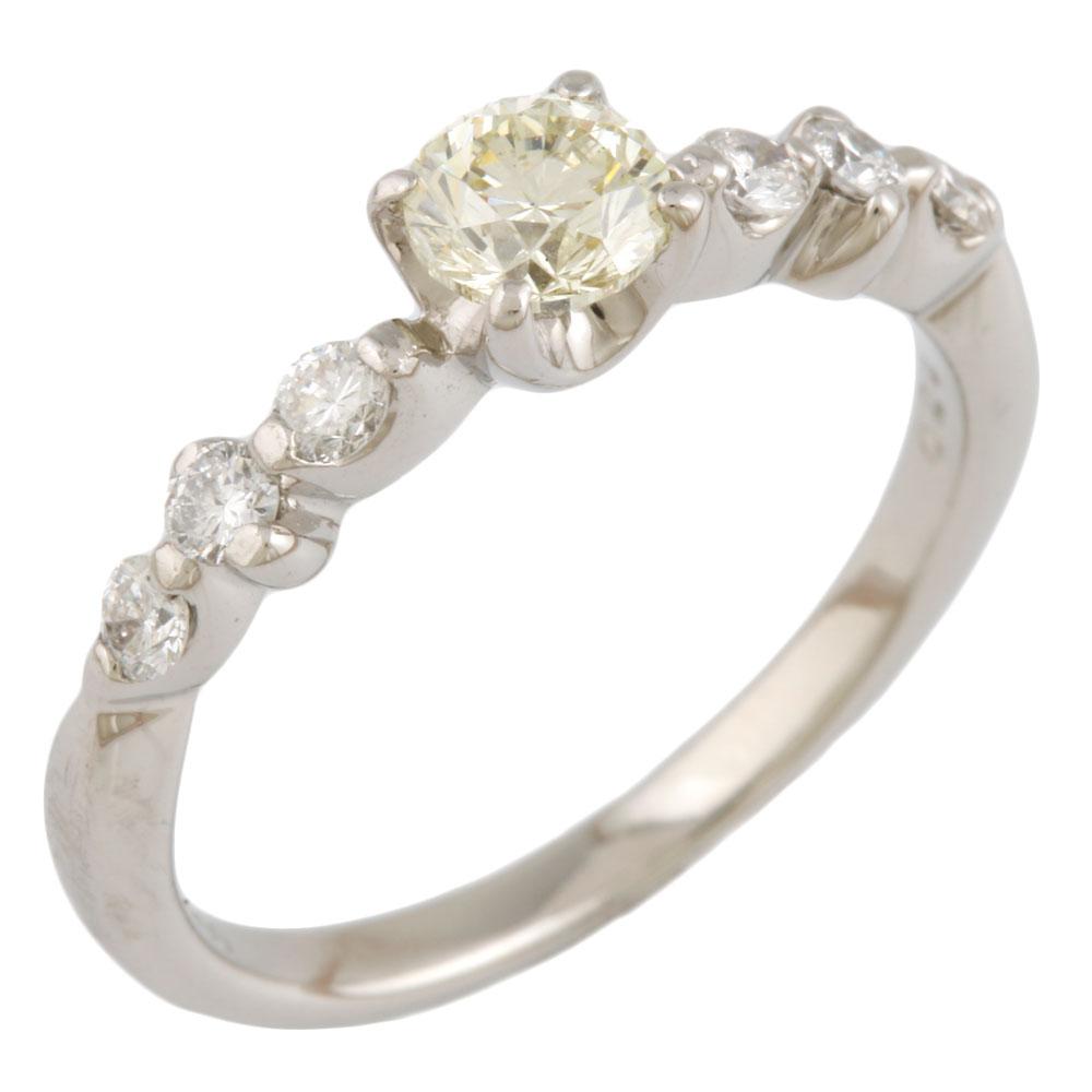 【送料無料】【中古】 Pt900 リング 指輪 10号 イエローダイヤモンド 0.423ct ダイヤモンド 0.24ct Pt900プラチナ レディース メンズ おしゃれ かわいい ギフト プレゼント