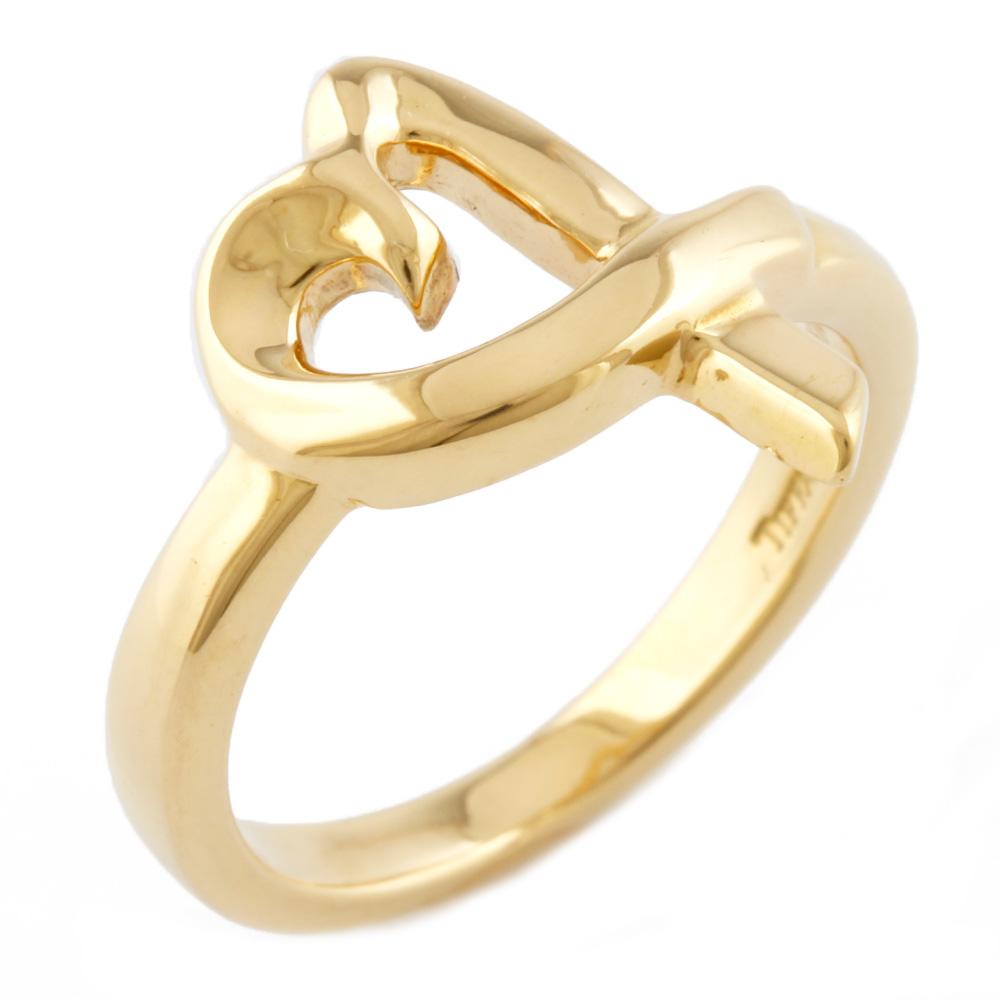 【送料無料】【中古】 TIFFANY&Co. ティファニー K18 リング 指輪 ハート ラビングハート 10.5号 18金 K18ゴールド レディース メンズ おしゃれ かわいい ギフト プレゼント