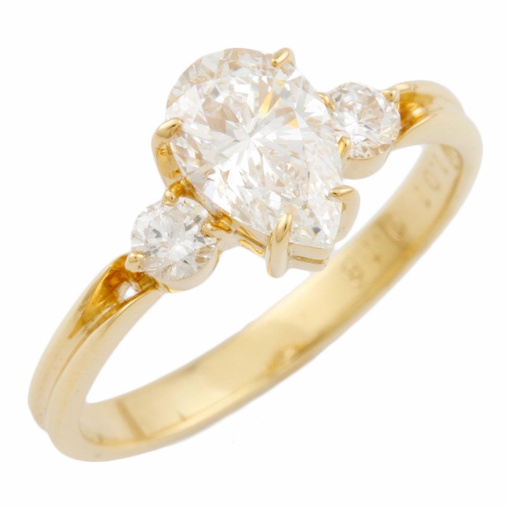 【送料無料】【中古】 K18 リング 指輪 10.5号 ダイヤモンド 1.01ct ダイヤモンド 0.18ct ドロップ 婚約指輪 エンゲージリング プロポーズ 18金 K18ゴールド レディース メンズ おしゃれ かわいい ギフト プレゼント