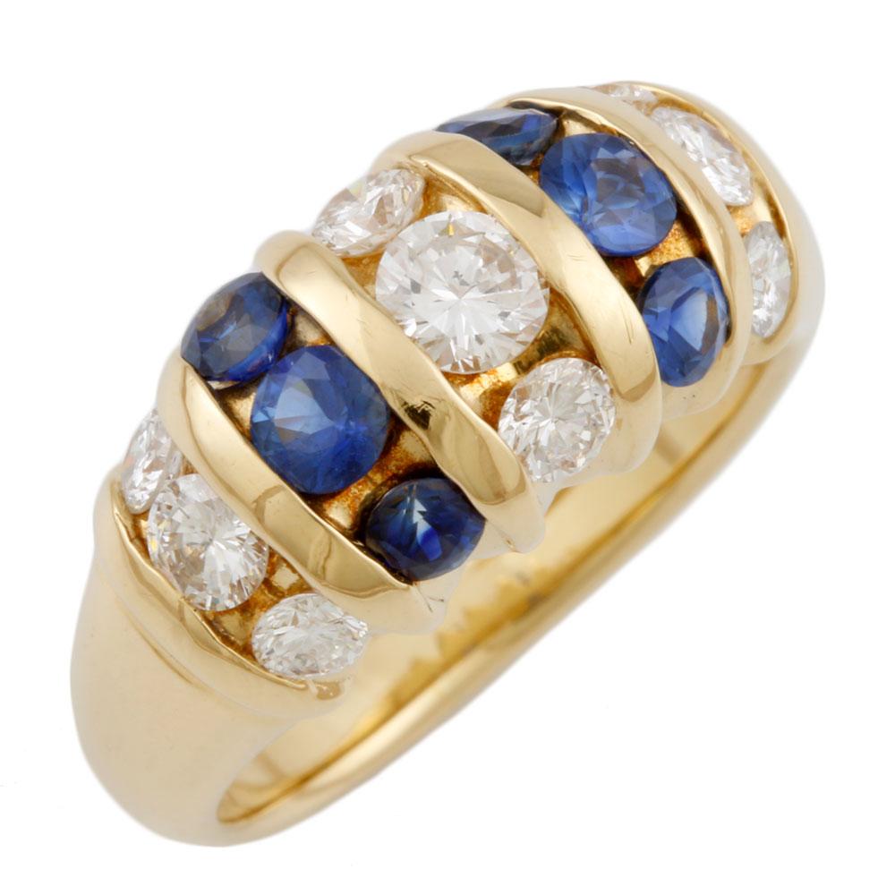 【送料無料】【中古】 K18 リング 指輪 10号 サファイア ダイヤモンド 18金 K18ゴールド レディース メンズ おしゃれ かわいい ギフト プレゼント