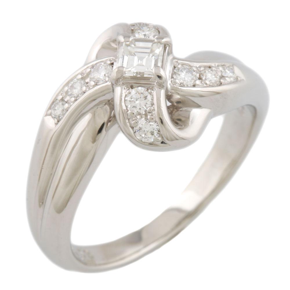 【送料無料】【中古】 POLA ポーラ Pt900 リング 指輪 16号 ダイヤモンド クロス Pt900プラチナ レディース メンズ おしゃれ かわいい ギフト プレゼント