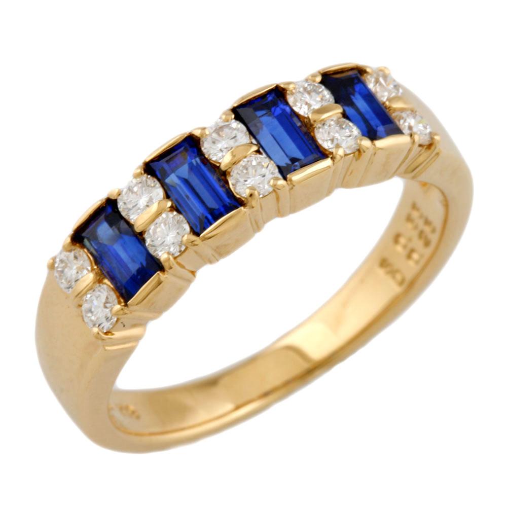 【中古】 MIKIMOTO ミキモト K18 リング 指輪 10号 サファイア 0.55ct ダイヤモンド 0.25ct 18金 K18ゴールド レディース メンズ おしゃれ かわいい ギフト プレゼント