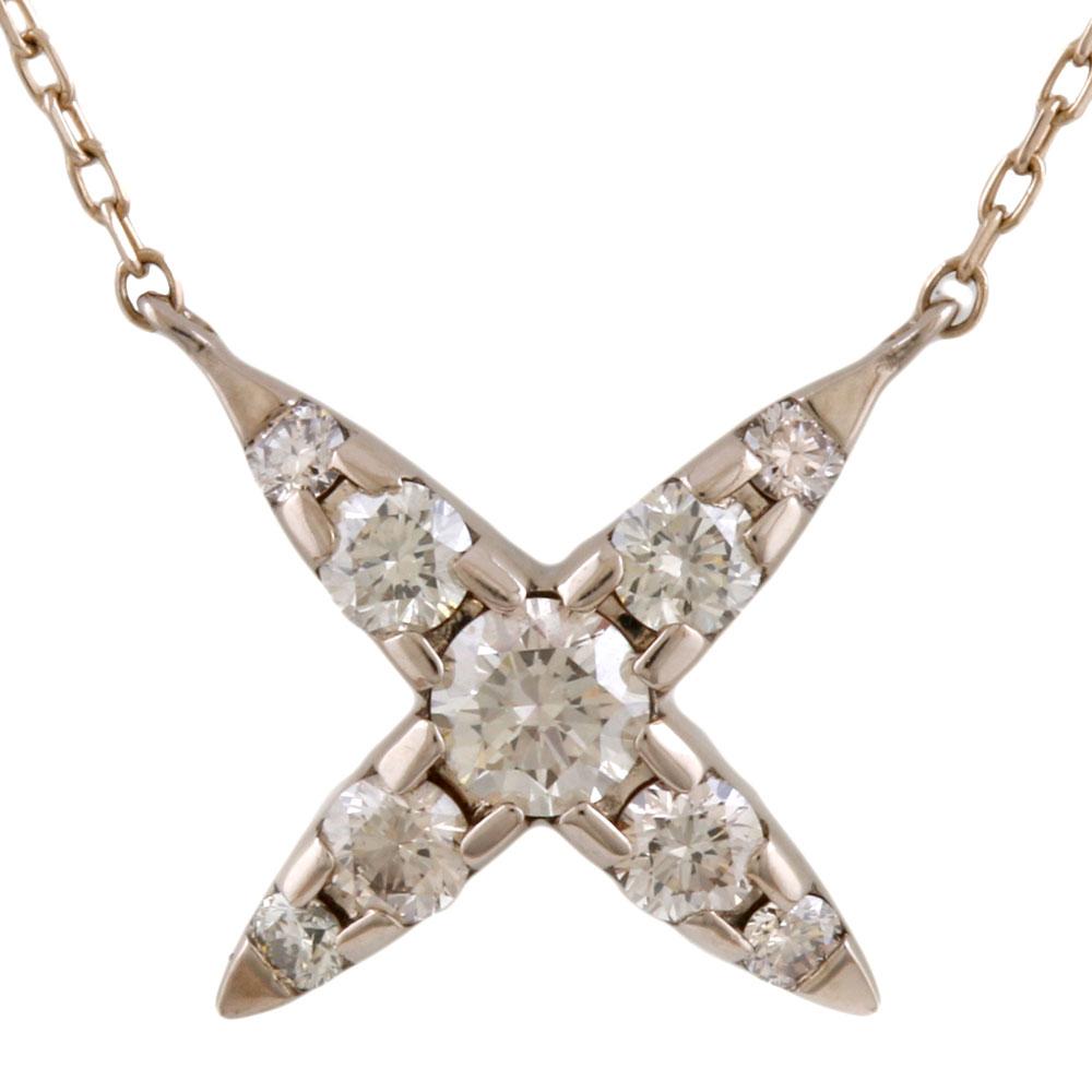 【送料無料】【中古】 K18 ネックレス ブラウンダイヤモンド 0.30ct カシケイ KASHIKEY ネイキッド クロス 18金 K18ゴールド レディース メンズ おしゃれ かわいい ギフト プレゼント