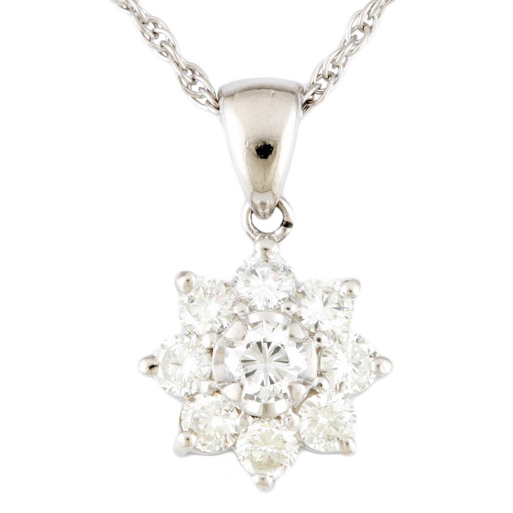 【送料無料】【中古】 Pt900 ネックレス ダイヤモンド 1.01ct 花 フラワー Pt900プラチナ レディース メンズ おしゃれ かわいい ギフト プレゼント