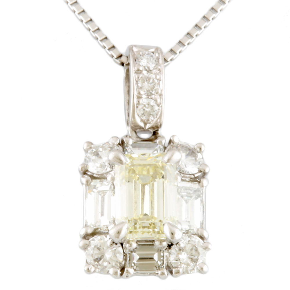 【送料無料】【中古】 Pt900 ネックレス イエローダイヤモンド 0.681ct ダイヤモンド 0.60ct Pt900プラチナ レディース メンズ おしゃれ かわいい ギフト プレゼント