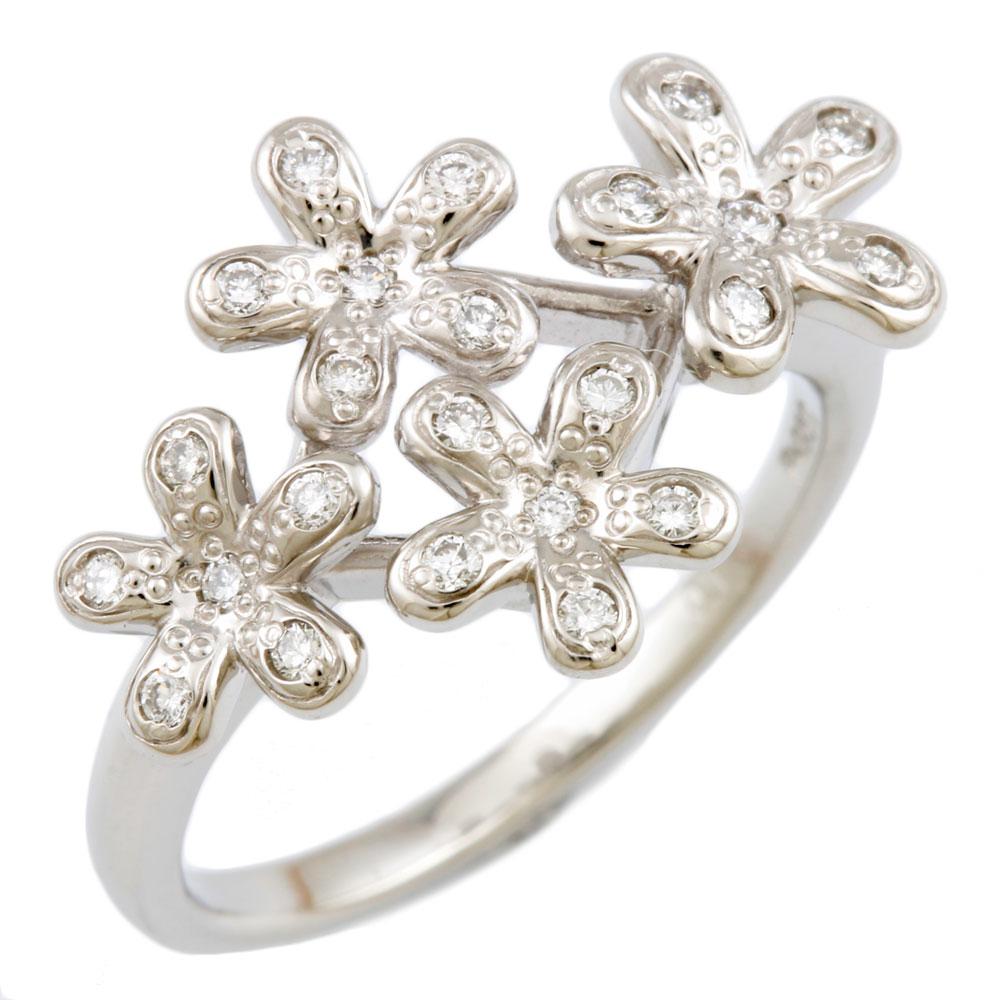 【送料無料】【中古】 VENDOME ヴァンドーム Pt950 リング 指輪 9号 ダイヤモンド 0.13ct 花 フラワー Pt950プラチナ レディース メンズ おしゃれ かわいい ギフト プレゼント
